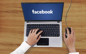 Facebook up on a laptop