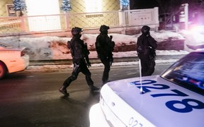 Security forces patrolling after the shooting in the Islamic Cultural Centre in Quebec City.