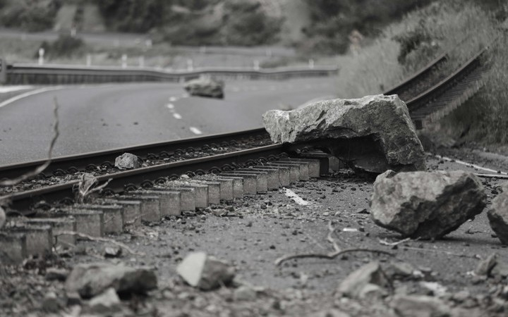 Railway tracks ripped from the line along State Highway 1 - North of Kaikoura.