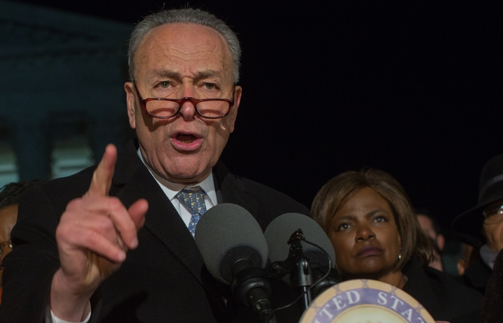 "Charles Ellis ""Chuck"" Schumer, the senior United States Senator from New York and a member of the Democratic Party, speaks at a rally against Donald Trump."