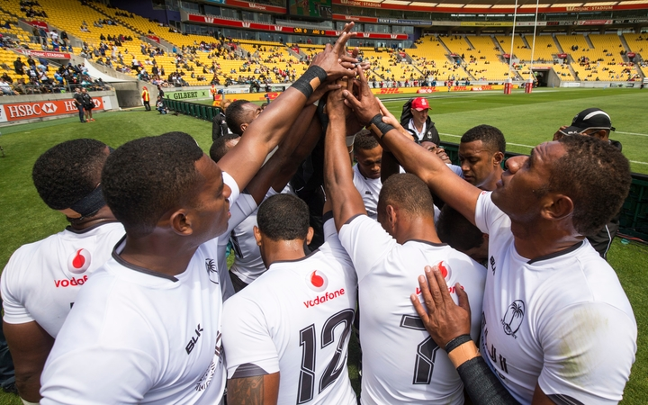 Fiji huddle up during the Wellington Sevens.
