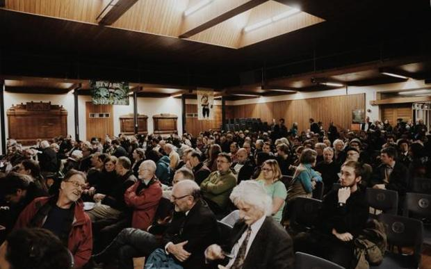 A photo posted to Twitter by the Green Party shows last night's meeting in Wellington.