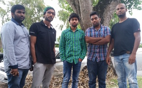 Manoj Narra (left), Shahad DM, Pradeep Reddy, Mohammed Mohammed and Hussain Syed fear their careers will be ruined if they are forced to return to India.