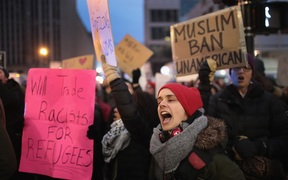 Several hundred demonstrators protest President Donald Trump's executive order which imposes a freeze on admitting refugees into the United States and a ban on travel from seven Muslim-majority countries at the international terminal at O'Hare Airport on February 1, 2017 in Chicago, Illinois