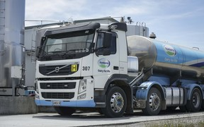 Fonterra milk truck picking up Simon Mackle's milk.