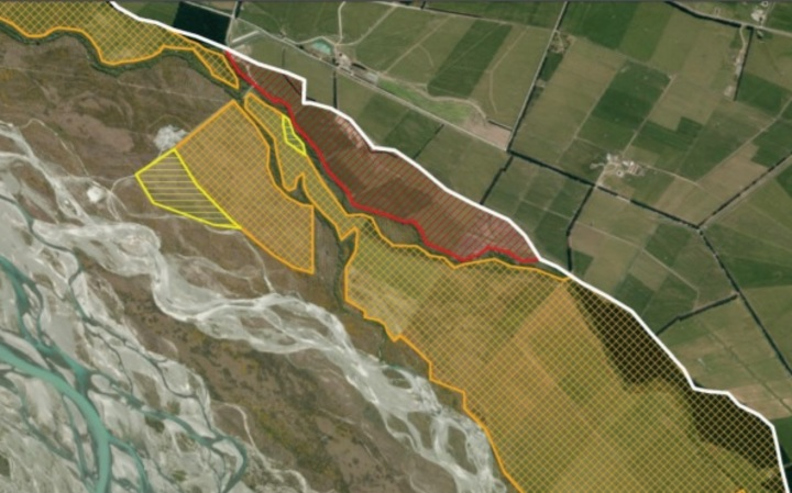Aerial photographs showing example of river margin vegetation clearance and land use change in the lower Rakaia River