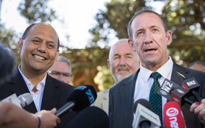 Willie Jackson and Andrew Little at Waitangi, announcing Jackson as a new Labour candidate. 5 February 2017.