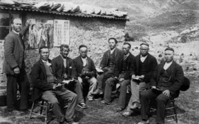 Chinese gold miners and Reverend Alexander Don at the Kyeburn diggings, Otago