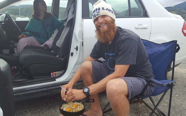 Freedom campers - Aaron Marshall from the United States in Nelson over Christmas.