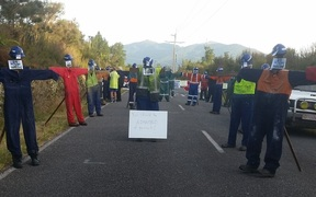 Effigies of the 29 victims at the road leading to the Pike River mine on 8 February 2017.