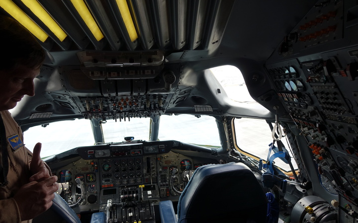 The cockpit of the plane housing NASA's flying laboratory.