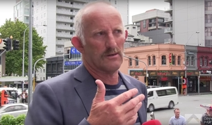 "Gareth Morgan outside TVNZ HQ in Auckland telling reporters why he'd ""get rid off TVNZ"" - and RNZ."