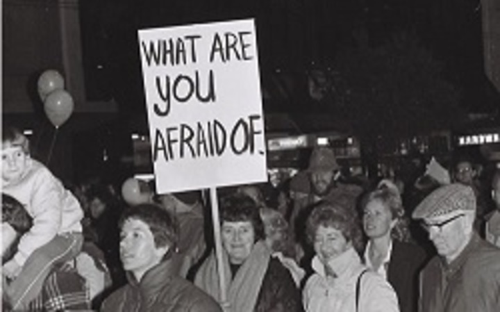 Protest supporting Homosexual Law Reform, leading up to the historic law change in 1986
