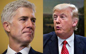 Judge Neil Gorsuch, left, and Donald Trump