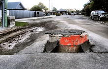 A quake-damaged storm drain in Christchurch.