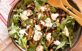 Grilled Aubergine and Chickpea Salad with Whipped Feta and Crispy Buckwheat