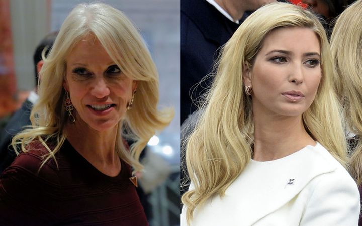 "Kellyanne Conway, left, has been ""counseled"" by the White House after telling people to ""Go buy Ivanka's stuff""."