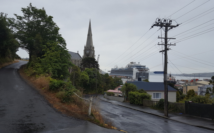 Port Chalmers Presbyterian Church, with Emerald Princess in background