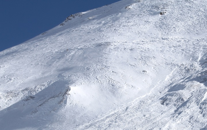 This image of the French Alps shows an avalanche site in an off-piste area after an avalanche engulfed nine people, killing at least four.