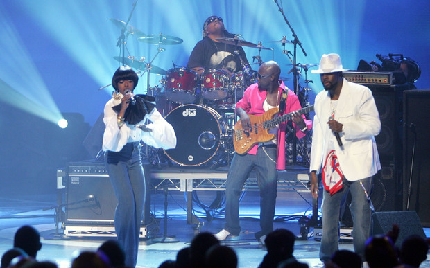 The Fugees perform at the BET Awards in Hollywood in 2005.