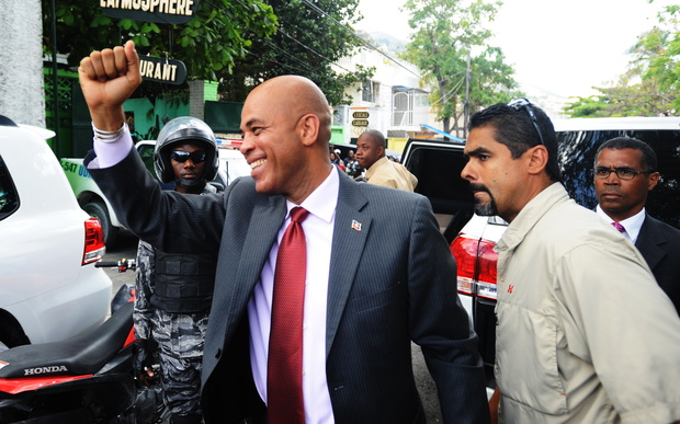 Michel Martelly celebrates his election in Port-au-Prince in April 2011.