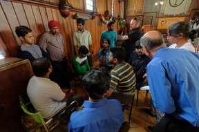 Indian students facing deportation, supporters and media at the Auckland Unitary Church in Ponsonby.