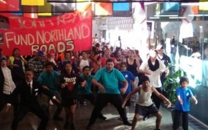 Northlanders protesting logging trucks and dusty roads perform a thunderous haka  in foyer of the Whangarei council chambers.