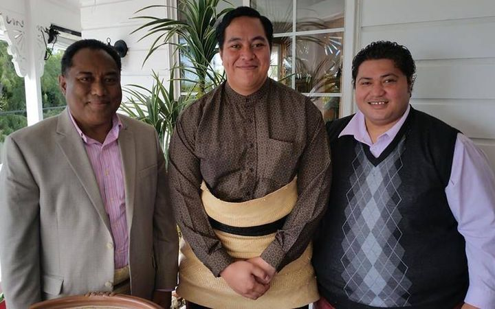 Foundation patron HRH Crown Prince Tupouto'a 'Ulukalala (centre), President Siosaia Moehau (left) and member Sangster Saulala