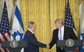 US President Donald Trump (right) and Israeli Prime Minister Benjamin Netanyahu holding a joint press conference in the White House.