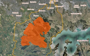 The Port Hills fire area - the yellow line boundary shows where further fire spread and smoke could pose a risks, and Civil Defence is recommending people keep out of that area.