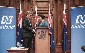 Bill English announced as the new Prime Minister of New Zealand, Paula Bennett as Deputy Prime Minister. Prime Minister Bill English and Deputy Prime Minister Paula Bennett shake hands.