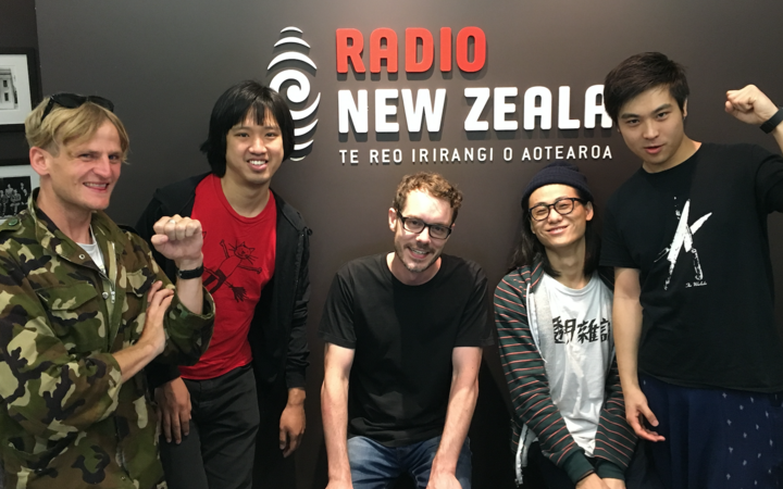 Andrew Wilson from Die! Die! Die! Wang Xinjiu, RNZ's Tony Stamp, Wen Yuzhen, and and He Fan.