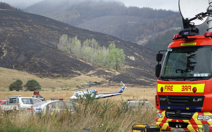 Fire crews in the Port Hills, Christchurch.