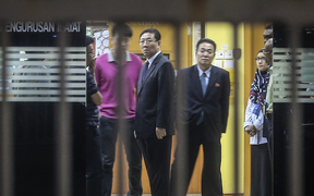 North Korean ambassador Kang Chol inside the Forensic Department of the Kuala Lumpur General Hospital, in Kuala Lumpur.