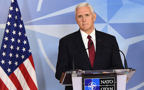 US Vice-President Mike Pence gives a press conference after a meeting at the NATO headquarters in Brussels on 20 February.