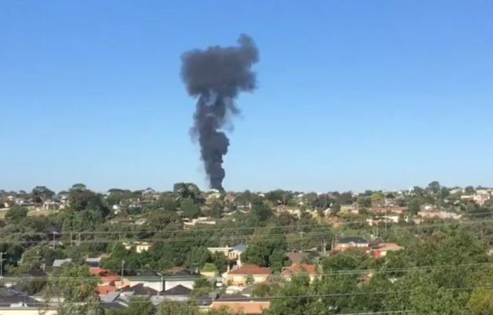smoke from the melbourne plane crash scene