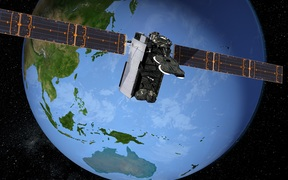 Artists impression of Kacific-1 satellite over the Pacific.