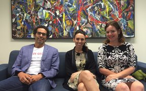Mt Albert candidates Geoff Simmons, Jacinda Ardern and Julie Anne Genter
