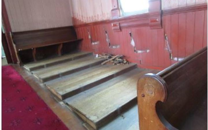 The pews would have been difficult to remove, say police.