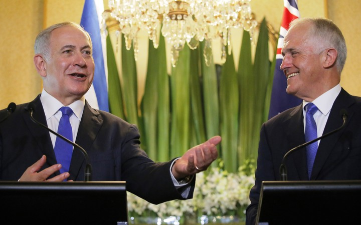 Israel's Prime Minister Benjamin Netanyahu, left. speaks as his Australian counterpart Malcolm Turnbull listens during their joint news conference at Kirribilli House in Sydney on 22 February, 2017.