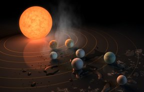 Artist's impression of the TRAPPIST-1 star, an ultra-cool dwarf, has seven Earth-size planets orbiting it.