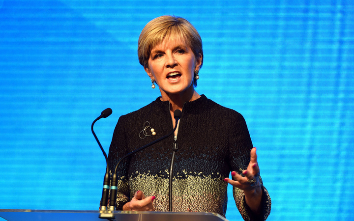 Australian foreign minister and Liberal Party deputy leader Julie Bishop speaking at the Coalition launch in Sydney.