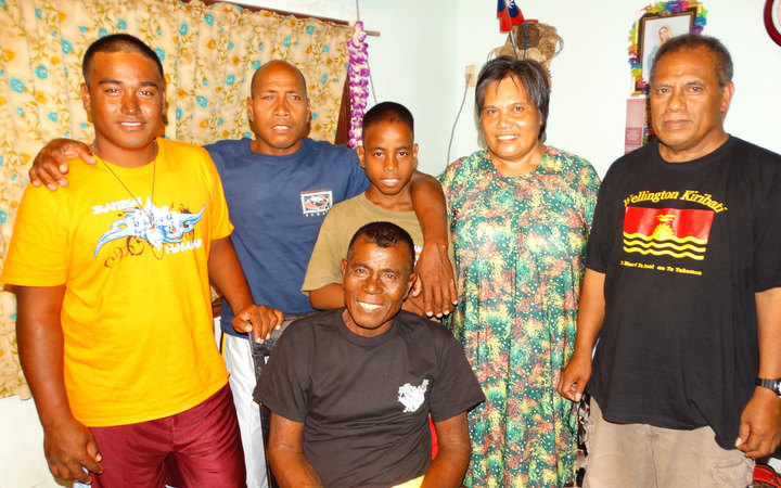 These four I-Kiribati were rescued by the fishing vessel Kwila 888 after its helicopter pilot spotted the two 15-foot boats drifting about five miles apart in the central Pacific Ocean.