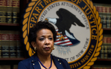 US Attorney General Loretta Lynch attends an announcement on charges against FIFA officials at a news conference on 27 May 2015 in New York.