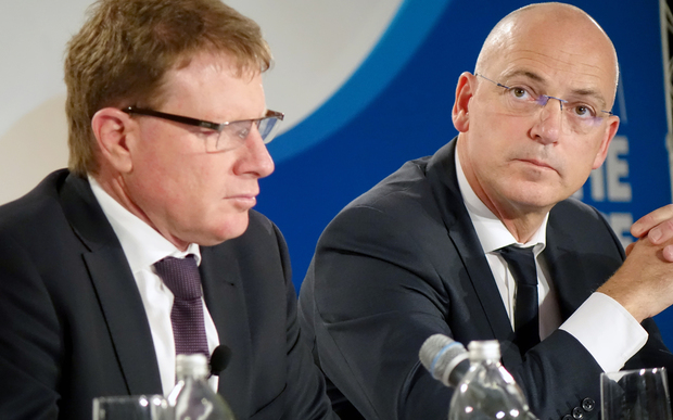 Fonterra chairman John Wilson, left, and chief executive Theo Spierings.