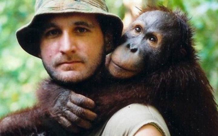 Leif Cox with an Oranguatan