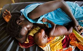 A mother and her malnourished child in South Sudan in November 2016