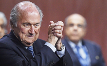 Sepp Blatter reacts after his re-election as president of FIFA in Zurich on 30 May (NZST).
