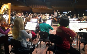 Rehearsals for the NZSO 70th birthday concert with conductor Hamish McKeich