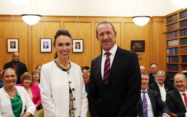 Jacinda Ardern and Andrew Little, shortly after Ardern was named deputy leader of the Labour Party.